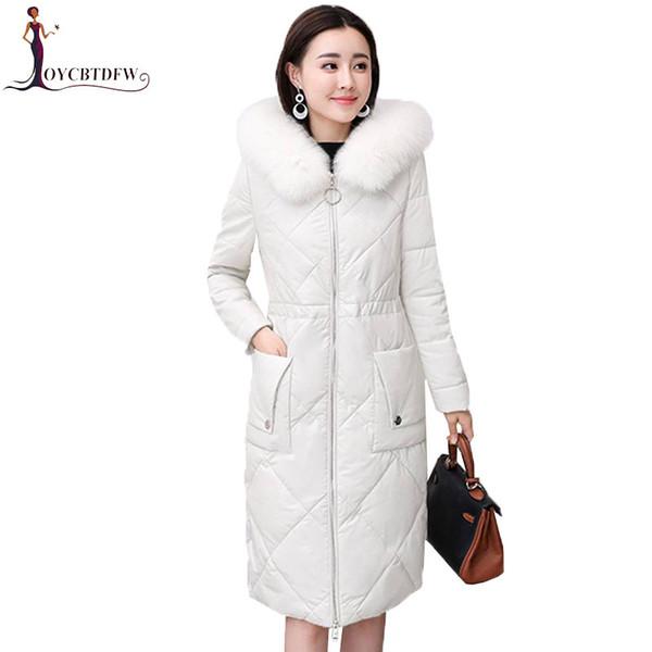 Winter Leather Down Jacket Women Long Fox Fur Collar parkas 2018 New Korean Jacket Coats Hooded Ladies Sheep Skin Outerwear N564