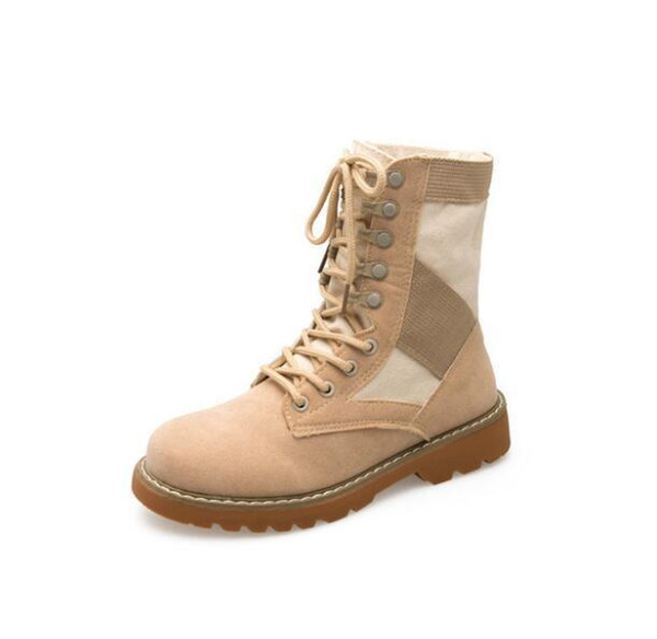 British Style Fashion Female Boots Flat Military Women Suede Martin Boots Outdoor Work Safety Boots Woman Shoes W810