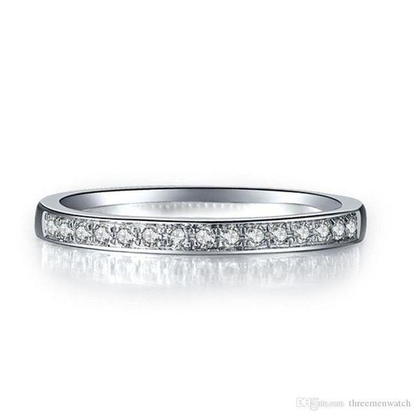 Kadınlar PT950 damgalı için Gümüş Takı nscd Elmas Parmak Band Yüzük Yarı Dağı Düğün Takı Platin Kaplama Yıldönümü Yüzük