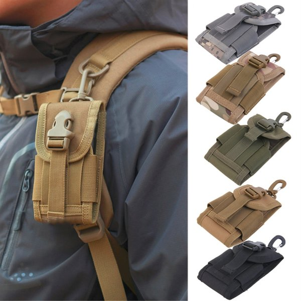 Acampar al aire libre Ciclismo Senderismo Militar 4.5 pulgadas Universal Army Tactical Bandolera para teléfono móvil Funda con gancho Funda # 382108