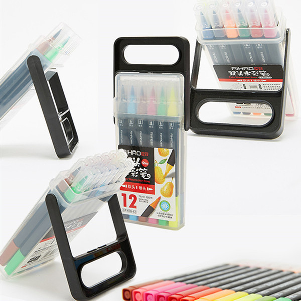 2019 New Arrival AIHAO Brand Read Study Marker Pen 12pcs/lot Art Pen Package in Box for School Supply Free Shipping