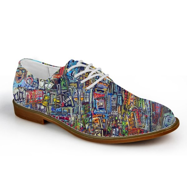 Customized Fashion Graffiti Painting Men's Casual Leather Shoes Breathable Lace up Flats for Man High Quality Male Oxford Shoes