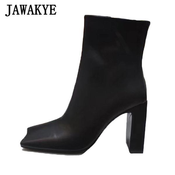 Hot courbé bout carré bottes courtes femmes noires chaussures habillées en cuir véritable femme Cowboy trapu Talons Bottines pour les femmes