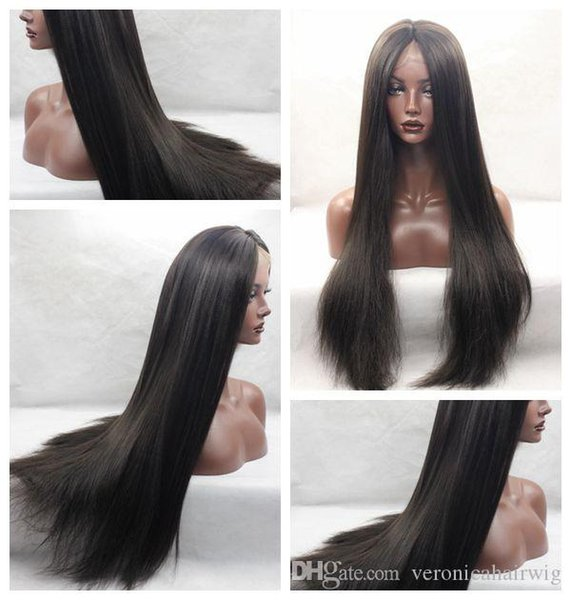 High Density Natural Looking Brown Yaki Straight Long Wigs Heat Resistant Glueless Synthetic Wigs Lace Front Wigs with Baby Hair