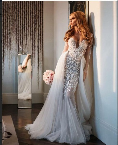Evening dress Long dress Long sleeve Applique Tulle Scoop Zipper White Mermaid Classic Customizable in any size Modern 753