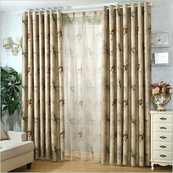 2019 Blackout Curtains For Living Room American Rustic Decorative Kitchen  Window Birds Printed Bedroom Curtains PanelA123 From Shuishu, $33.81 | ...