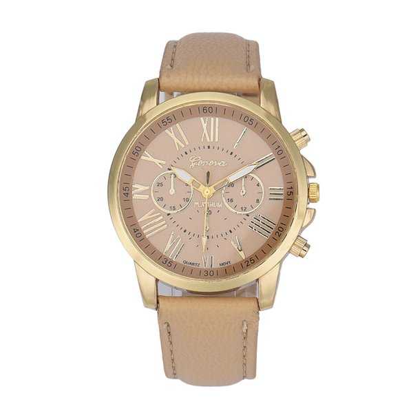 Fashion Hot Wome Watch Geneva Roman Numerals Faux Leather Analog Quartz Wrist Watch New 215