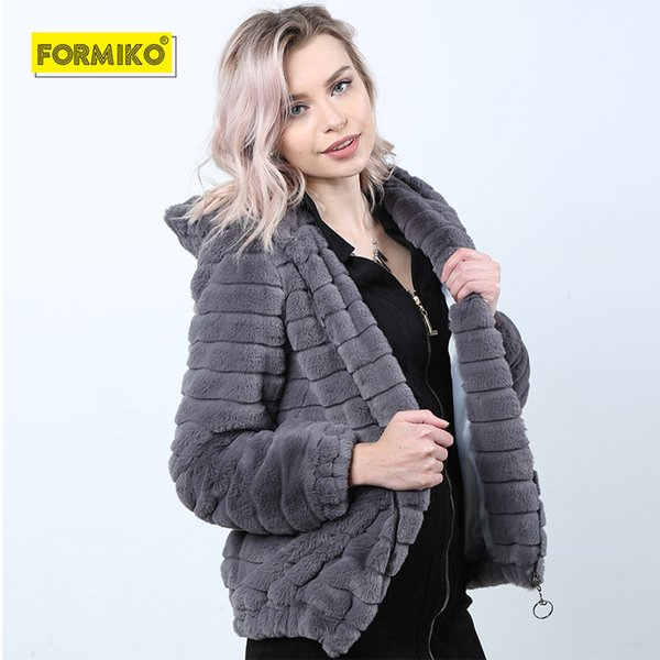 Formiko Winter Warm chaqueta con capucha de piel sintética de las mujeres corto peludo piel falsa ropa de abrigo de invierno 2018 color sólido fiesta casual overcoa