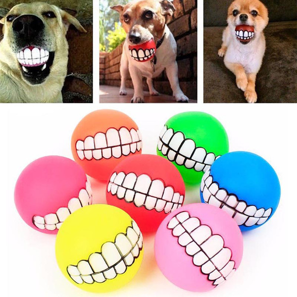 Pet Puppy Dog Funny Ball Teeth Silicon Chew Sound Silicone Chew Squeaker Sound Dogs Play Toys