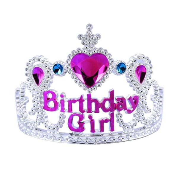 eadbands per neonati e nei bambini di colore rosa con strass principessa compleanno Diadema di plastica dei capretti fascia Hairband con pettine Ragazze Corone e Tiara ...