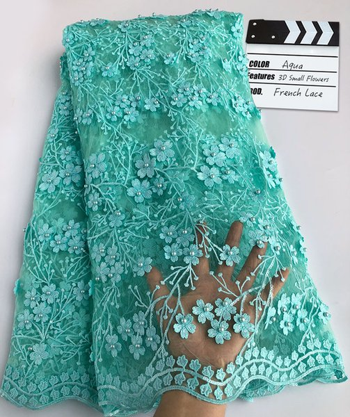 Plain Aqua smooth Lace Fabric with sequins Beaded African French lace fabric Nigerian Sewing clothes With Lots of stones 5 yards per piece