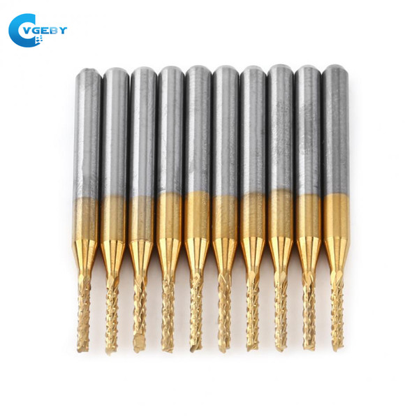 Freeshipping VGEBY 10Pcs 1/8'' 1.5mm PCB Drill Bit Engraving Cutter Rotary CNC End Mill Cutting Edge Carbide PCB EngravingTungsten Coating