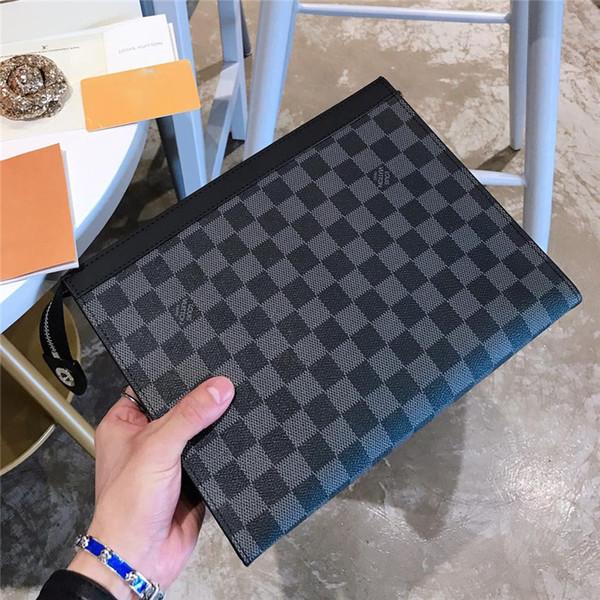Com caixa nova chegada bolsas de grife de alta qualidade de couro genuíno homens e mulheres sacos de mão sacos de negócios fahion tamanho 26 * 21 cm