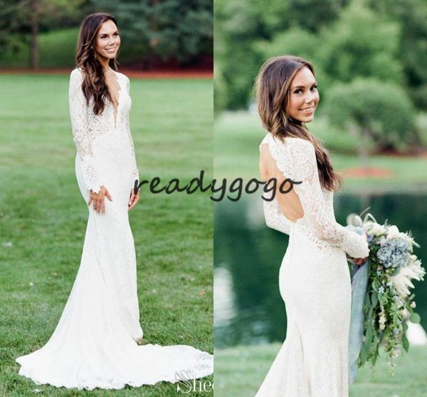 Backless Mermaid Wedding Dresses with Long Sleeve 2019 Deep V-neck Full Lace Countryside Bohemian Bridal Wedding Dress