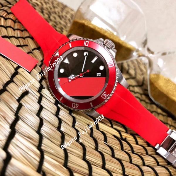 Súper hombres reloj correa de goma bisel de cerámica roja 12800 marinos automáticos de cuerda automática relojes + relojes