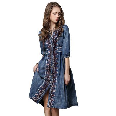 Women Summer Hot Sale Denim Dresses Print Plus Size Dresses V-Neck Vintage Loose Embroidery Split Button Dress