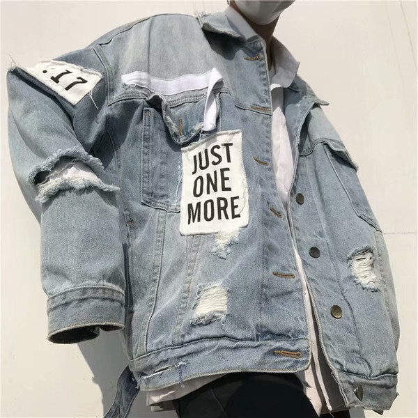 2019 homens Cowboy jaqueta cardigan juventude coreano high street estudante homens hip hop jaqueta jeans casacos plus size denim casacos a063