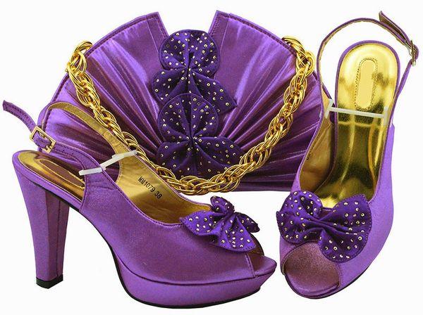 Elegant purple women pumps and bag set with butterfly design african shoes match handbag for dress MM1079,heel 11.5cm