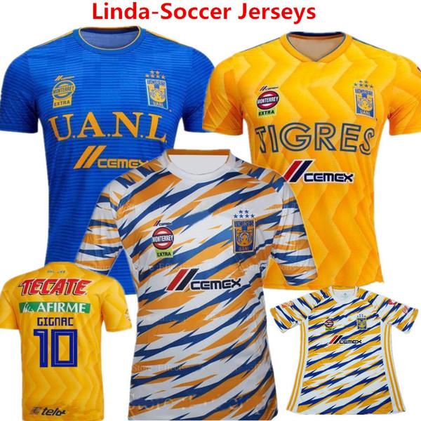 Futbol Forması Meksika Tigers UANL Maillot de ayak 2019 Kaplan VARGAS GIGNAC Sarı Futbol Gömlek Guerron Sobis camisas Çocuklar Yarış Takım MX