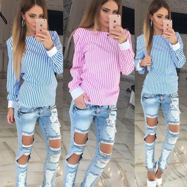 2019 Fashion White Striped Open Back Sexy Tops Cute Women Blouse Long Sleeve Shirt Women Summer Clothes Plus Size