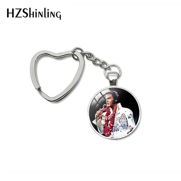 2019 Fashion Elvis Presley Glass Cabochon Heart Keychain Glass Dome Key Chain Elvis Presley Heart Pendant Bag Car Key Fob