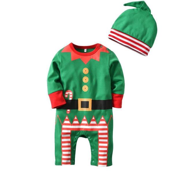 Yenidoğan Bebek Noel Romper Kostüm Çocuklar Yenidoğan Giysileri Uzun Kollu Bahar Yeşil Üst + Şapka Çocuk Bebek Giyim Seti