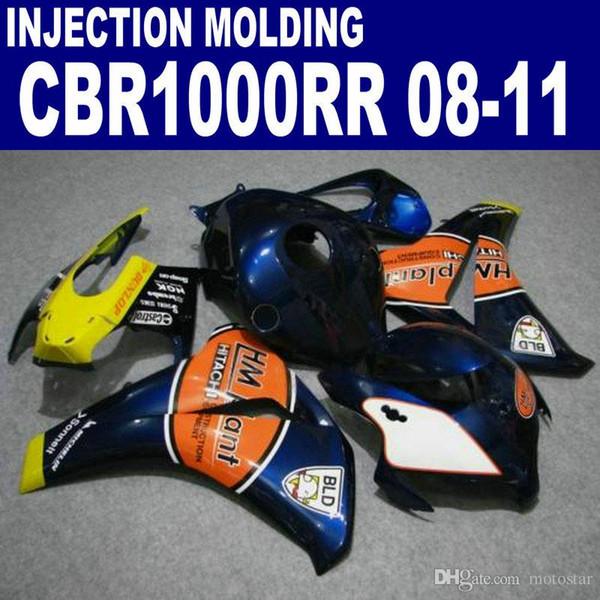 Einspritzung OEM ABS Motorradteile für HONDA Verkleidungen CBR1000RR 2008-2011 CBR1000 RR orange blau Verkleidungssatz 08 09 10 11 # U55