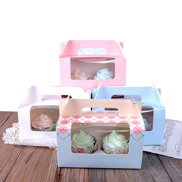 Cupcake Box Gift Box Two-hole cake box Portable with 2 Clear Window Handle Paper Pastry Packaging
