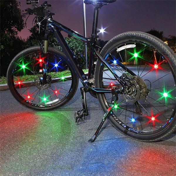 6Pcs Bicycle Spoke Lights 2 Green + 2 Blue + Red Bike Steel Wire LED Wheel Balancing Wheel Decorative Lamp #3N26