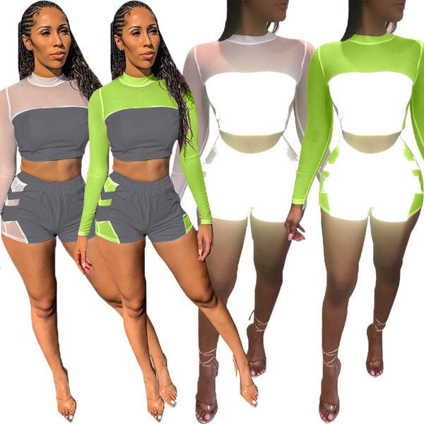 2019 new women summer outfit mesh transparent splicing reflective SET tee top shorts two piece suit sport tracksuit