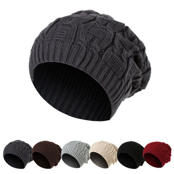 Korean version the chain knitted hat for men and women double wool hat baseball cap autumn and winter warm beanies hat