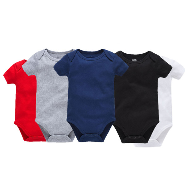Infant Solid Triangle Rompers Short Sleeve Cotton Envelope Collar Single Breasted Jumpsuit Kids Designer Onesies Boy Girls Outfits 0-2T