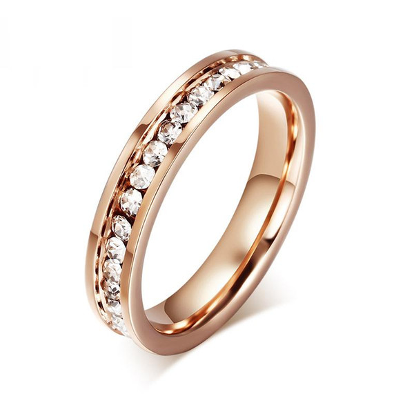 Cute Women&#39s Ring Rose Gold Color Full CZ Stones 4mm Width Stainless Steel Engagement Jewelry