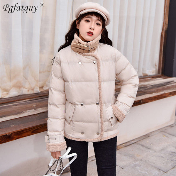 2018 New Parkas Female Women Beige Black Thick Down Cotton Winter Jackets Womens Outwear Turn Down Collar Button Short Parkas