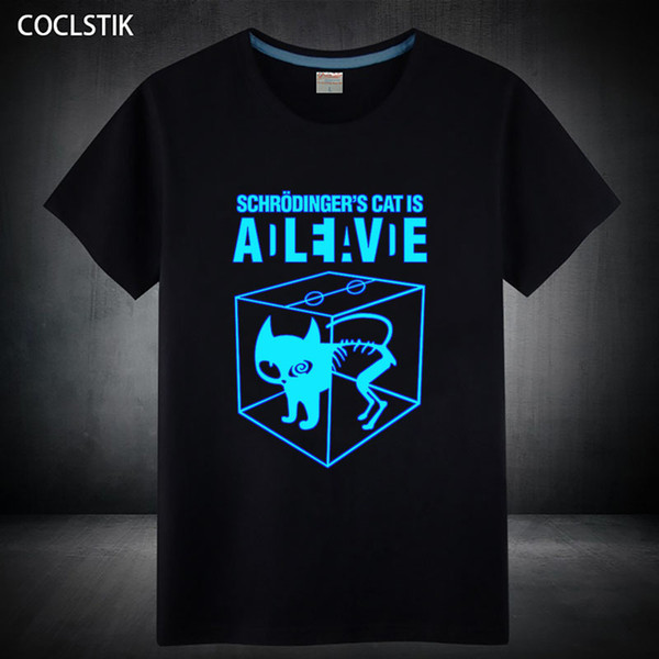 100% Cotton Childrens/mens Summer Fluorescent Schrodingers Cat T Shirt Male Luminous In Dark The Big Bang Theory T-shirts Tops Y190513
