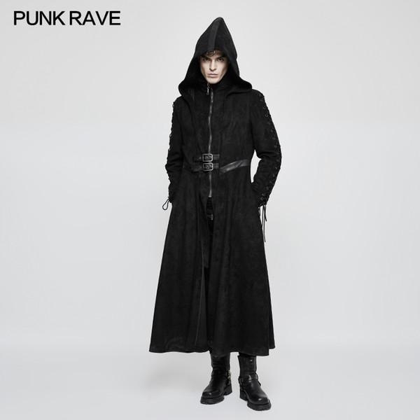 PUNK RAVE Men Steampunk Black Hooded Long Coat Fake Two Piece Fashion Men's Gothic Dark Angel Long Trench Coat