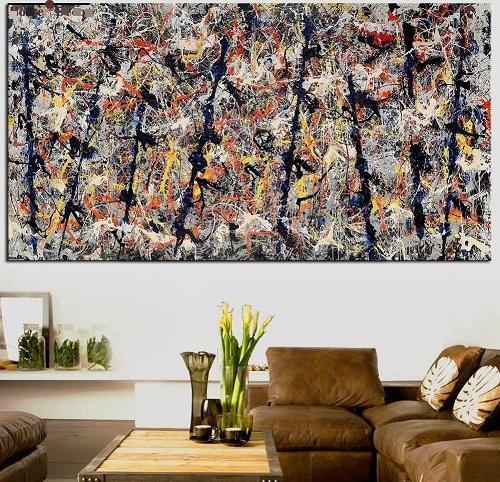 "Jackson Pollock ""Blue poles"" High Quality Wall Art Handpainted & HD Print Abstract Graffiti Art Oil painting Home Decor On Canvas jk14"