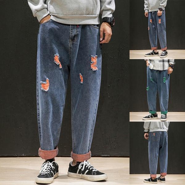 Nuevo estilo de la moda de los hombres streetwear de gran tamaño ocasionales Plain vaqueros de la manera pantalones cómodos pantalones pantalones de carga hombre hombres