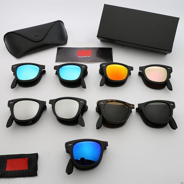 Brand Designer Folding Toughened Glass Sunglasses Mirror Nails Brilliant Pilot Eyeglasses Male and Female Outdoor Driving Sports Eyeglasses