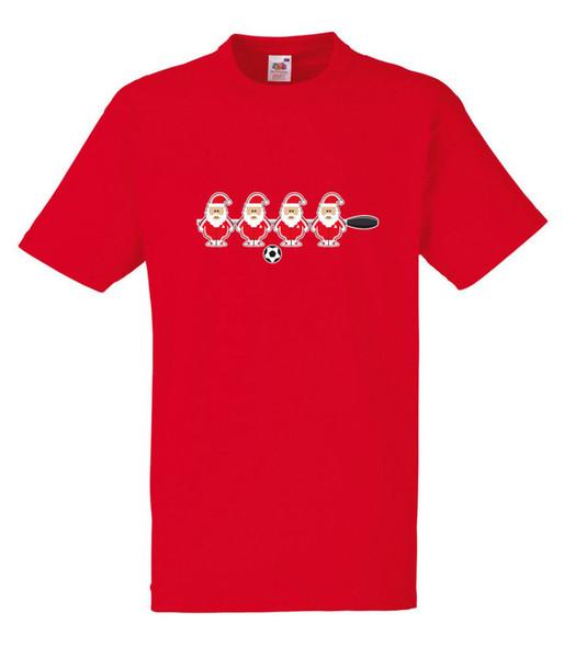 Table Football Fusball Santa White /& Red Design Men/'s White T-Shirt