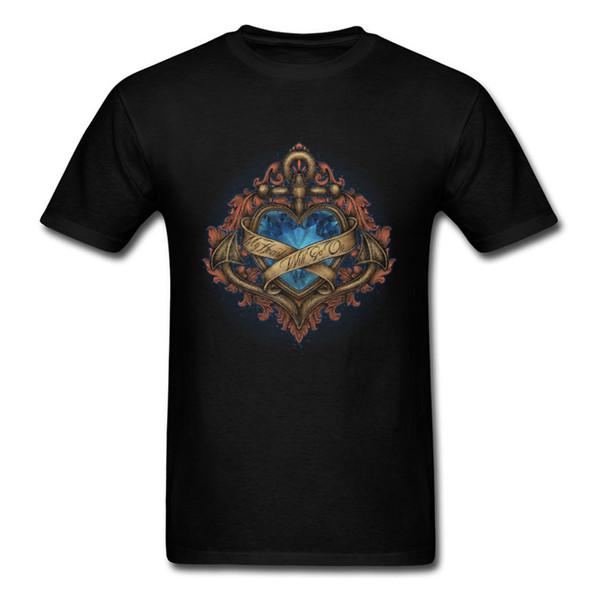 Mi corazón irá a la camiseta Hombres camiseta negra Knight Spirit Tops Ropa vintage Camiseta de verano Regalo de San Valentín Camiseta Ancla del corazón