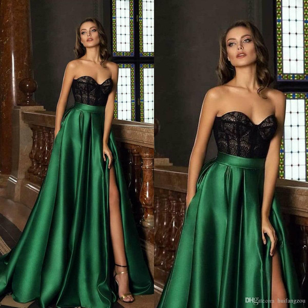 Charming A Line Prom Dresses 2019 Lace Sweetheart Thigh High Slits Evening Gowns Custom Made Sexy robes de soirée