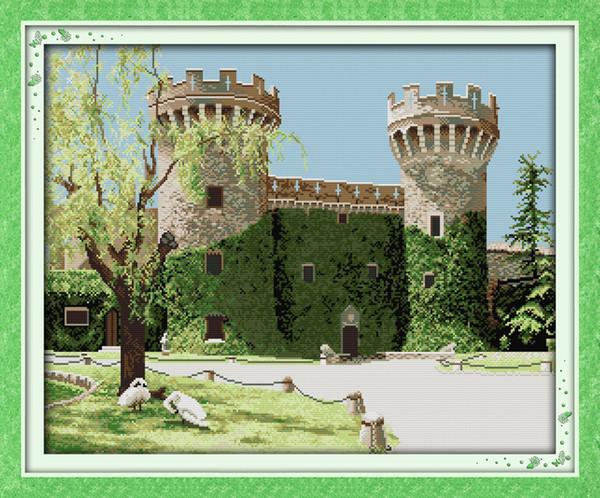 Rurale vecchio castello decor pittura, ricamo a punto croce fatto a mano set contati stampa su tela DMC 14CT / 11CT