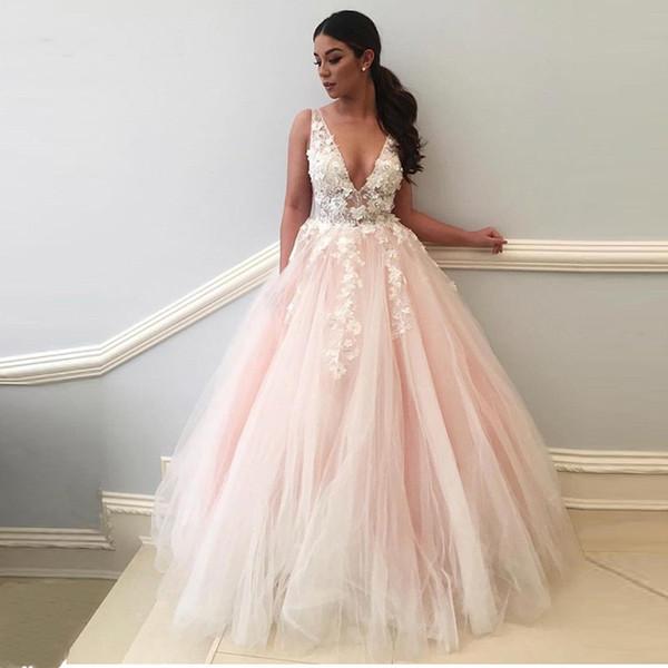 Compre Elegantes Vestidos Largos De Noche 2018 Cuello En V Profundo Flores 3d Apliques De Encaje Rosa Vestido De Fiesta Mujeres Formal Pary Vestidos
