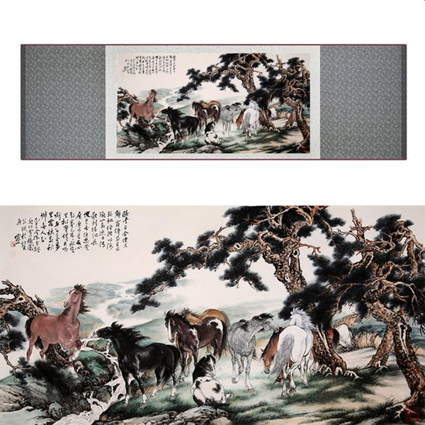Traditional Chinese Art Painting Horse Art Painting Silk Scroll Art Painting Horse Picture 040701