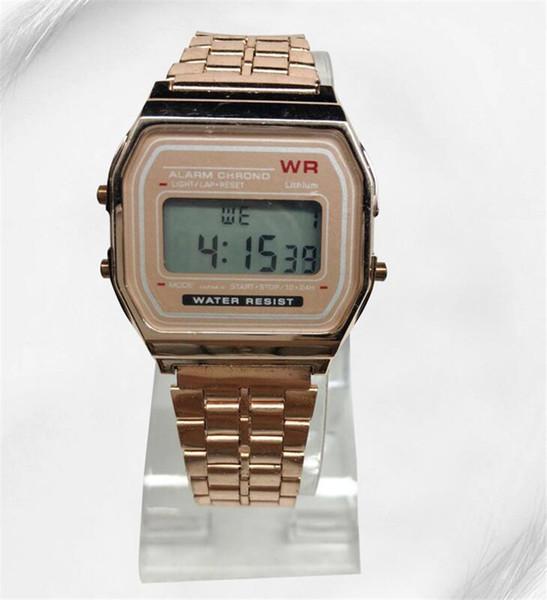 Orologio in oro rosa F-91W LED orologi Orologio da polso digitale LED ultra-sottile da polso F91W Orologio da donna sportivo da uomo