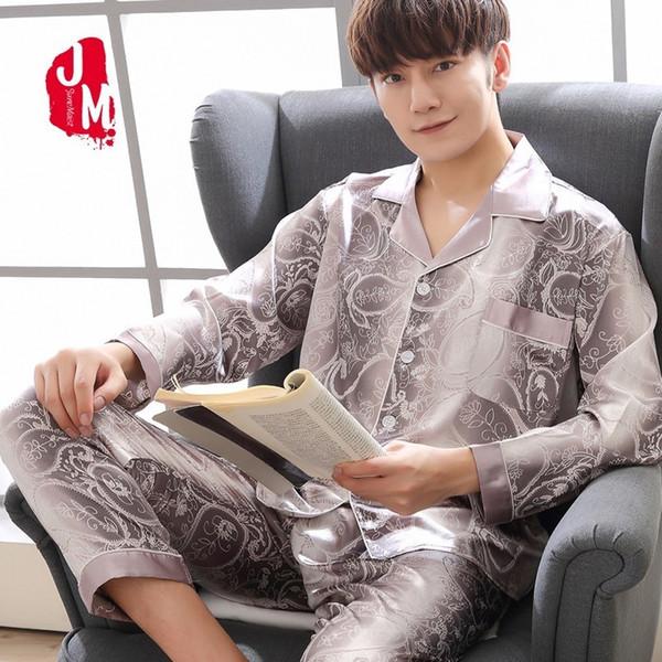 2018 Silk Men Pajama Sets Solid Long Sleeve Satin Sleepwear Men Summer Suit Two-Piece Pyjamas Male Homewear Plus Size L XXL XXXL