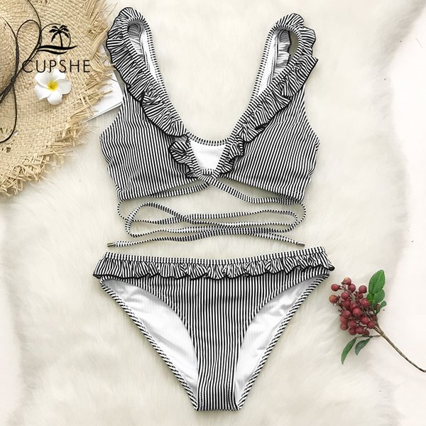 CUPSHE Black And White Striped Ruffled Bikini Sets Women Cute Cross Two Pieces Swimsuits 2019 Girl Sexy Bathing Suits