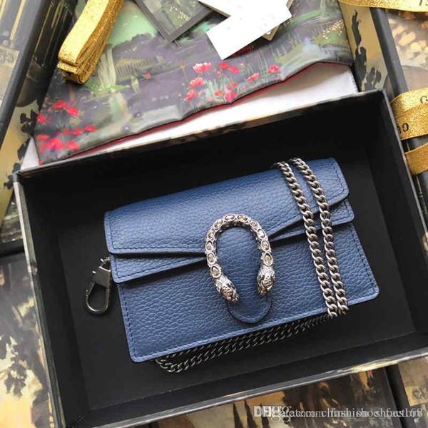 Sac à main à chaîne dorée classique en cuir de vachette, sac à bandoulière pour femme, bandoulière, bleu foncé pour Fashion Lady