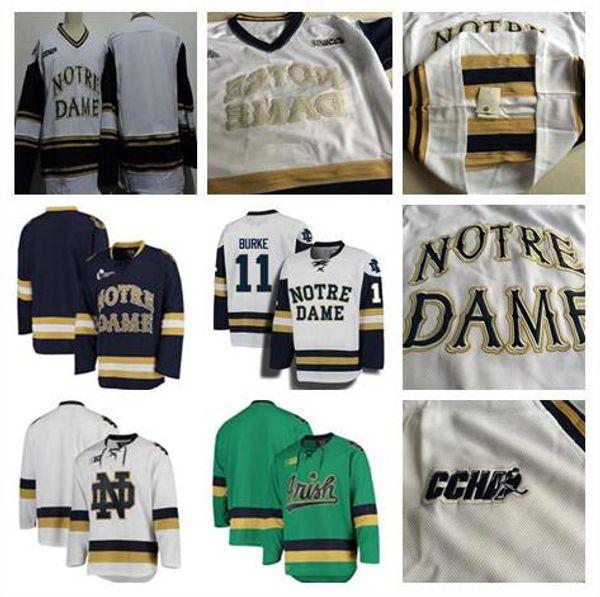 73c28ed4d Custom Men Notre Dame Fighting Irish College Hockey 15 Andrew Oglevie 24  Luke Ripley 18 Jake